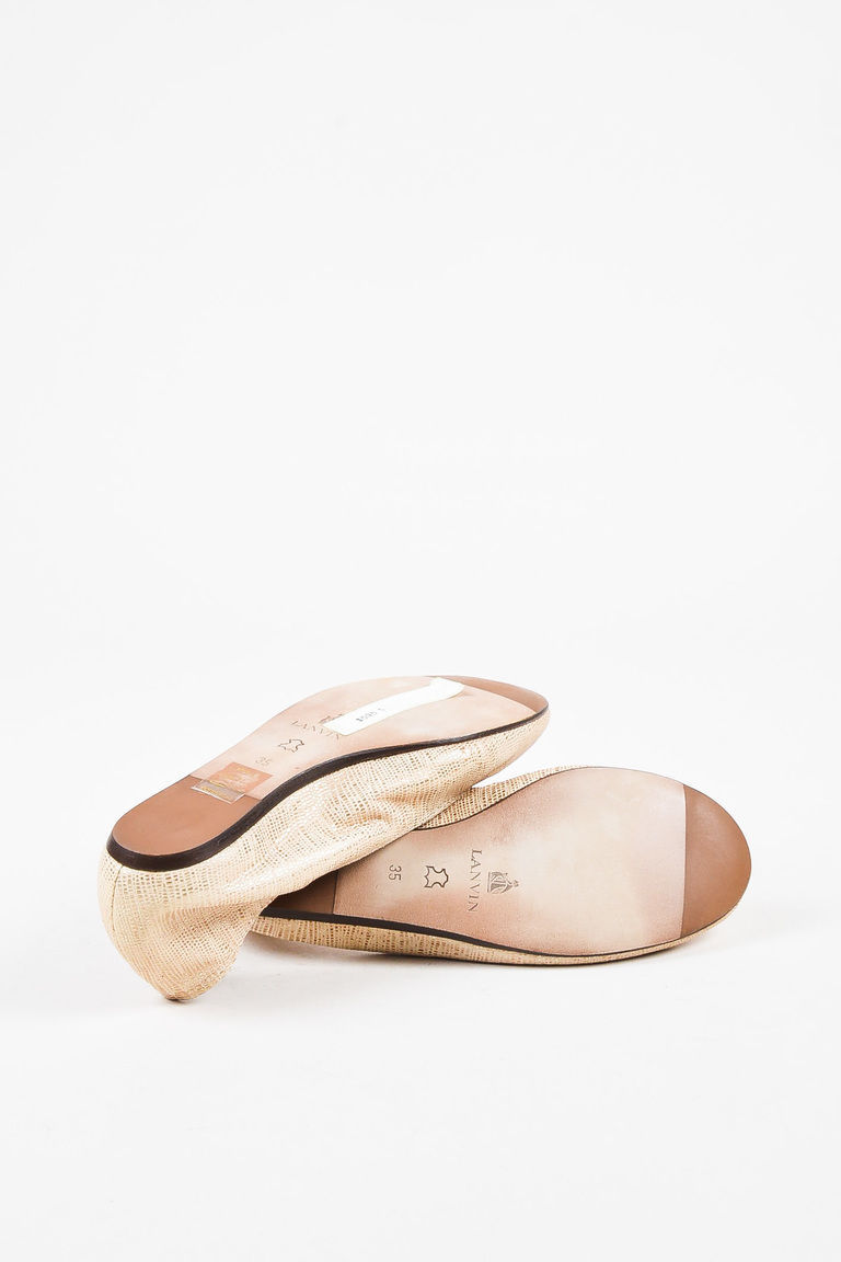 Lanvin NIB Beige & Metallic Gold Leather Embossed Ballerina Flats SZ 35