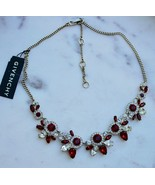 NWT- Givenchy Gold-Tone Red & Clear Crystal Statement Necklace - $78.21