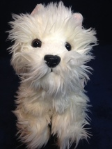 "Russ Berrie SASSY Scottish Terrier Fluffy White Plush 8"" Sitting Puppy D... - $39.99"
