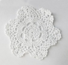 Set of 4 Handmade Crochet Lace Cotton Doilies, 6-Inch Round, Beige or White - $9.99