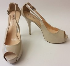 Guess Shoes Heels Beige Pumps Peep Toe Cut Out Patent Leather Womens Size 10 M - $59.36