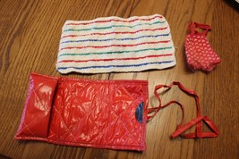 "Vtg 1950s Vogue 8"" Ginny Doll Beach Outfit red mat swim suit stripped to... - $28.95"