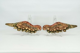 WOOD HAND CARVED  POLYCHROME  WING  ANGEL  - $250.00