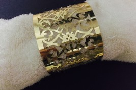 100pcs Laser Cut Fence Towel Wrappers Metallic Paper Gold Napkin Rings  - $34.00