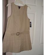 French Toast Official School wear Pleat Belted Jumper Khaki Dress Size 12 - $27.00