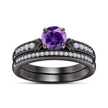 14K Black Gold Fn Round Cut Amethyst & D/VVS1 Diamond Engagement Bridal ... - $115.00