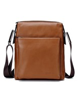 BDF Brown Genuine Leather Messenger Bag Men Shoulder Cross Body Bags iPa... - $66.89