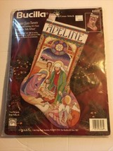 Vintage Bucilla Stained Glass Nativity Counted Cross Stitch Stocking Kit #83438 - $39.59