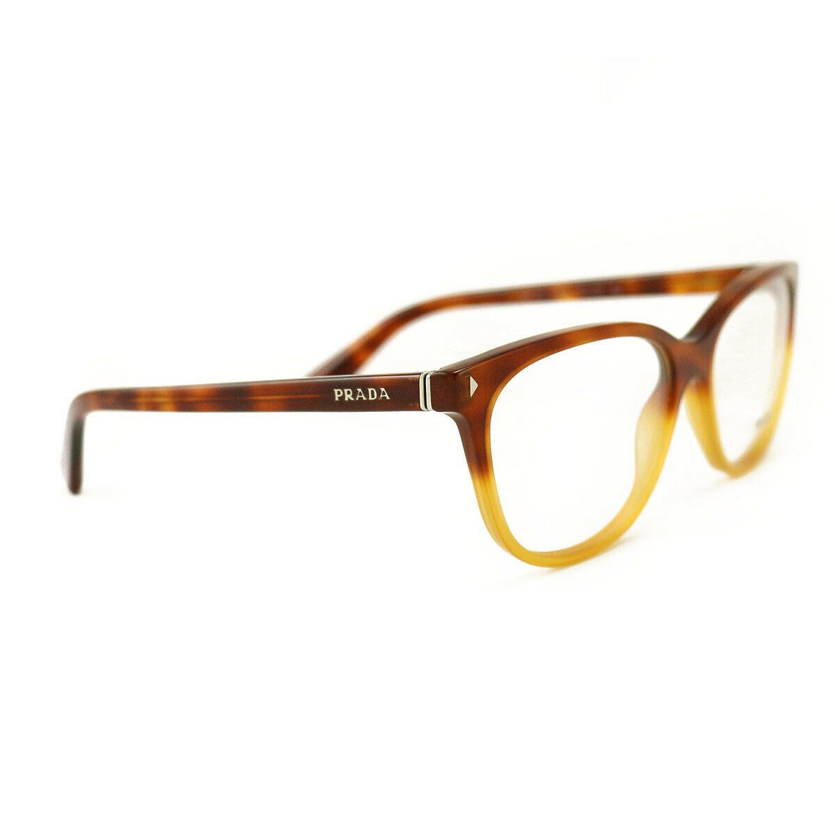 New Prada Eyeglasses VPR 14R TKU 101 Blonde Havana Acetate 54 16 140 Authentic