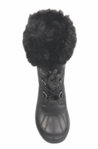 Cat & Jack Big Girls Youth Black Constance Faux Fur Winter Waterproof Snow Boots image 3