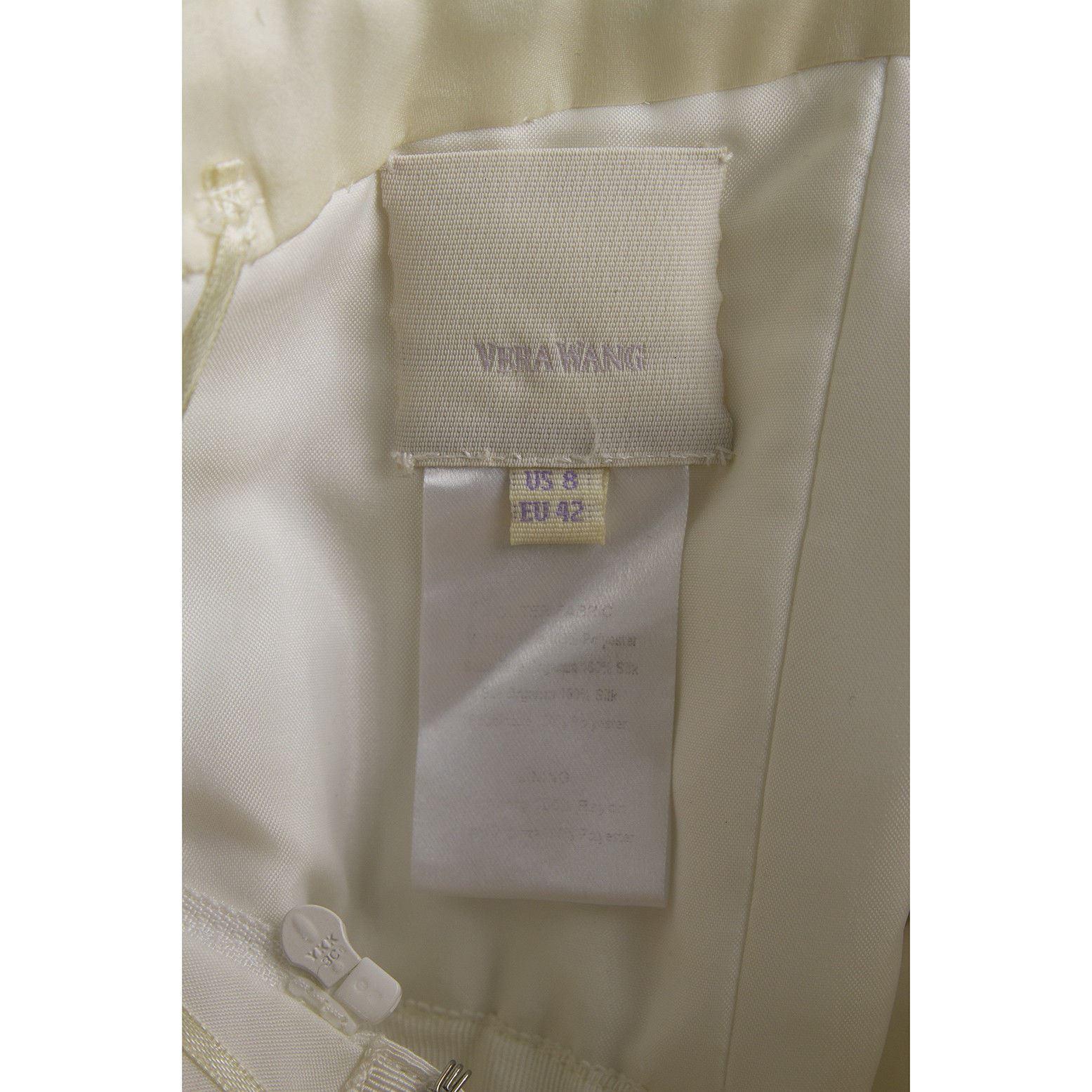 Vera Wang Silk Floor Length Bridal Wedding Gown Dress Strapless US 8 EU 42 image 5