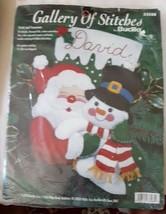 Bucilla Felt Applique Stocking Santa & Snowman Kit New - $28.60