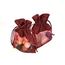 JaneOft 5x7 Inches 20PCS Drawstring Burlap Gift Bags, See Through Window Red