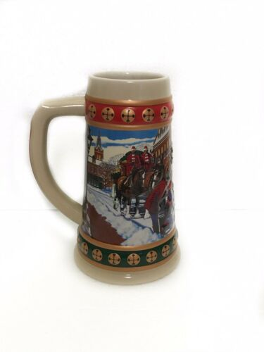 Primary image for Budweiser VTG 1993 Hometown Holiday Christmas Beer Stein Mug Clydesdales Horses