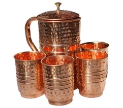 Copper Water Pitcher Set 4 Glasses Capacity 10 Oz with 1 Jugs Capacity 5... - $58.80