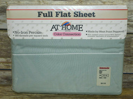 Vtg NOS West Point Pepperell Full Flat Sheet Color Connection Jade Green... - $14.85