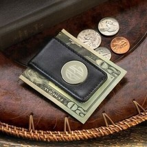 Engraved Leather Magnetic Money Clip Black Personalized Gifts - $26.42