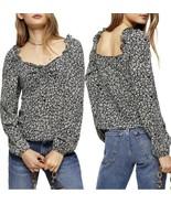 Women's Topshop Ditsy Floral Print Prairie Blouse Size US 12 Long Sleeve... - $29.92