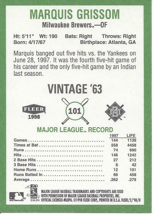 1998 Fleer Tradition Vintage 63 13 Card Lot all different