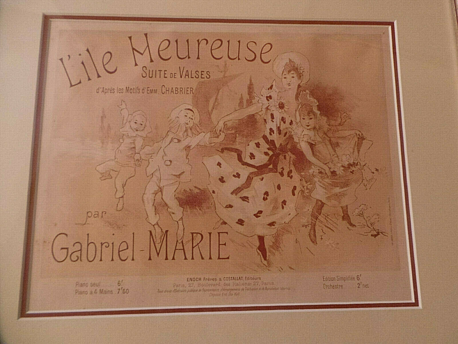 Primary image for original Jules Cheret Music Cover Lithograph Lile Meuresue, Framed, Matted c1900