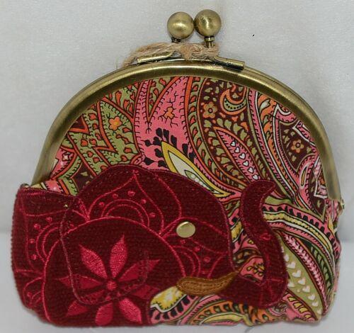 Karma Brand KA100514 Burgundy Floral Elephant Lock Coin Purse With Card Slots