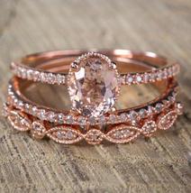 Oval AAA Morganite Engagement Milgrain Trio Ring Set 14K Rose Gold Over Silver - $120.79