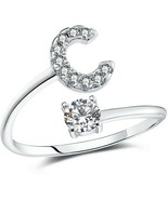 FAURORA Rings For Women Initial Ring Letter Ring A-Z Adjustable Silver ... - $47.95