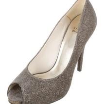 Stuart Weitzman Size 8.5 Evebaton Peep Toe Metallic Glitter Pumps - $265.32
