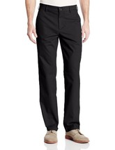 Haggar Men's Performance Cotton Slack Straight Fit Plain Front Pant,Black,34x34