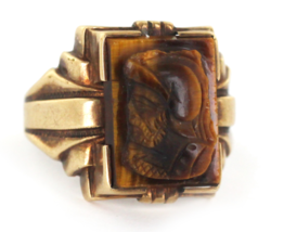 Antique Signet 10k Gold Roman Carved Cameo Gladiator Tigers Eye Unisex Ring - $269.99