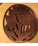 Vtg Cast Iron Copper Trivet Tulips Hot Plate - $11.29