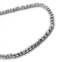 18K WHITE GOLD BRACELET, 20 CM, FINELY WORKED SPHERES, 2 MM DIAMOND CUT BALLS image 2