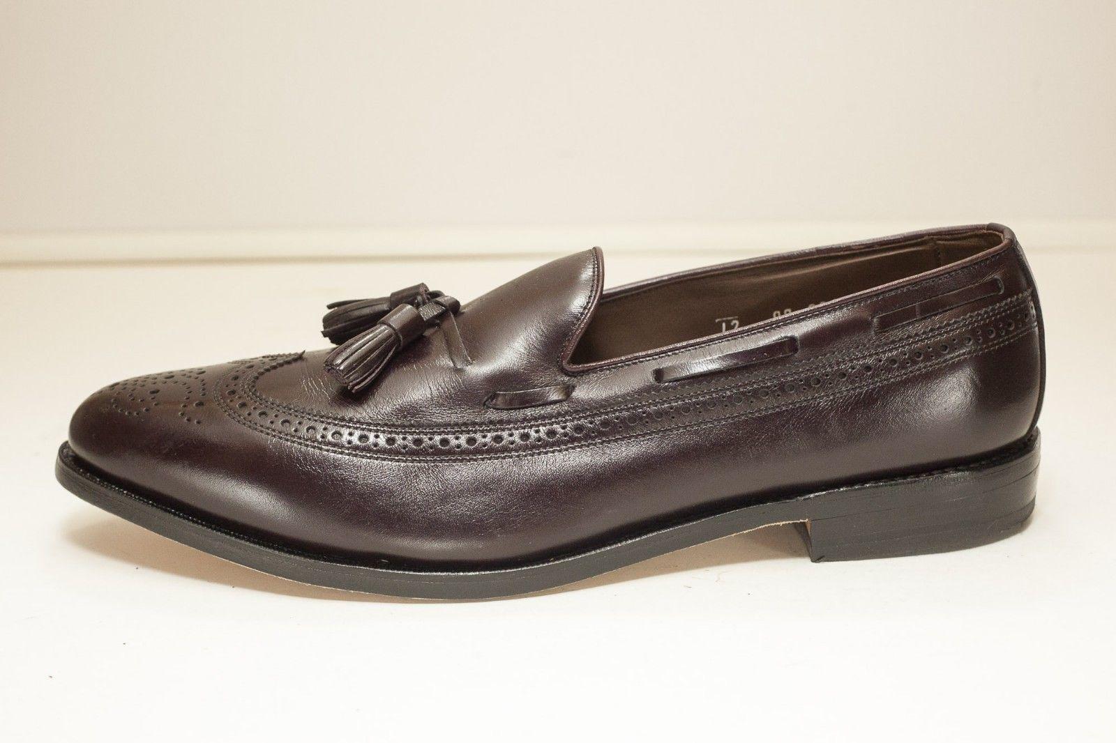 Allen Edmonds Manchester Size 12 AA Burgundy Wing Tip Tassel Loafer Men's