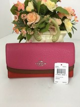 Coach Wallet 53858 Colorblock Flap Slim Envelope Clutch Pink Dahlia W3 - $79.19