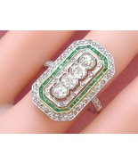 ANTIQUE ART DECO 1.25ctw MIXED DIAMOND EMERALD COCKTAIL RING 1920 FRENCH... - £4,061.55 GBP