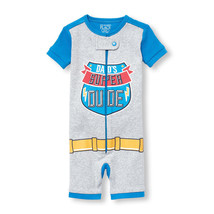 NWT The Childrens Place Super Dude Short Sleeve Stretchie Romper Sleeper... - $8.99
