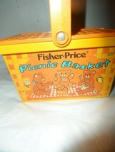 Vintage Fisher Price Toy Picnic Basket Three Bears Orange Plastic 1974 - $9.41