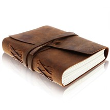 LEATHER JOURNAL Writing Notebook - Antique Handmade Leather Bound Daily ... - $30.02