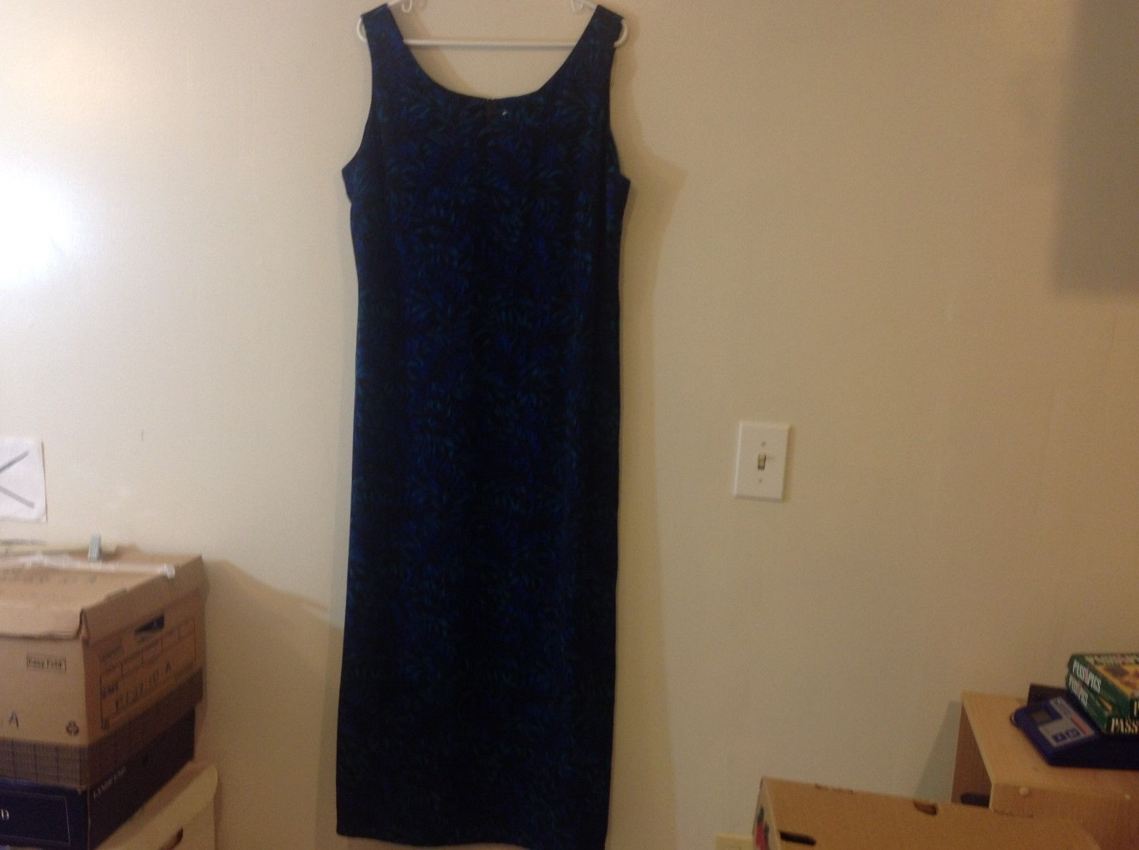 Studio I Black Sleeveless Dress w Blue/Teal Foliage Pattern Sz 18