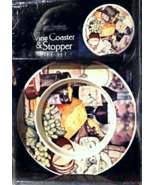 Wine Coaster & Stopper Santa Barbara Ceramic Design Cheese Plate Design NIB - $18.99