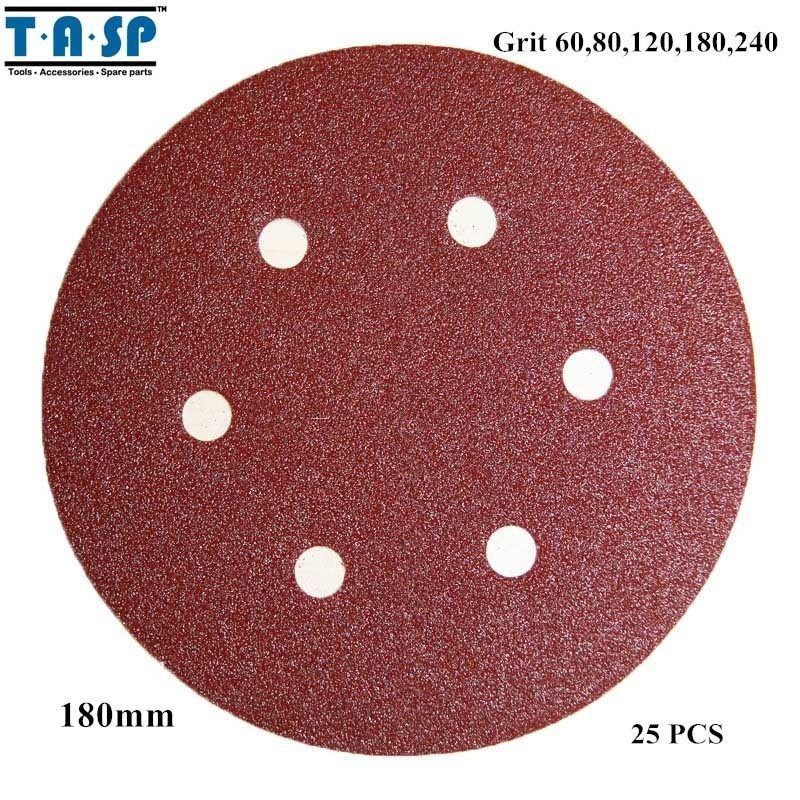 "Primary image for TASP® 25PC/Set 7"" 180mm Sandpaper Hook Loop Abrasive Sanding Discwith"