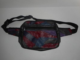 Vintage Leather Patchwork Color Block Fanny Pack Messenger Bag Waist Bag... - $24.99