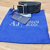 Armani Jeans Belt 100% Leather Signature Print NWT Italy Size 32 - $113.84