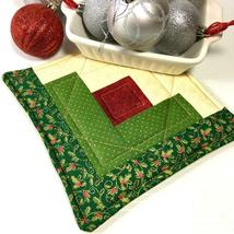 Christmas Pot Holder Quilted Handmade Holiday Log Cabin Block Heat Resistant image 6