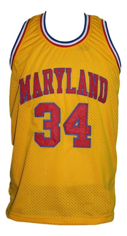 Len Bias #34 Custom College Basketball Jersey New Sewn Yellow Any Size