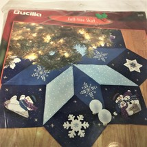 "BUCILLA ""Let It Snow"" Felt Kit 43"" Christmas Tree Skirt 84599 Snowmen KI... - $79.15"