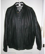 Mens Black Leather Wind River Varsity Bomber Jacket XLTall with Thinsula... - $48.49