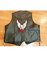 Bikers leather ROK Kawasaki leather biker vest with patches pins size 54 - $34.65