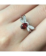 2.30Ct Oval Cut Red Garnet Diamond Fly Engagement Ring 14K White Gold Fi... - $118.99