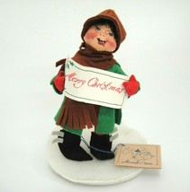 "Annalee Dolls Boy Christmas Caroler 1992 7.25"" Deck the Halls Sheet Music - $19.79"